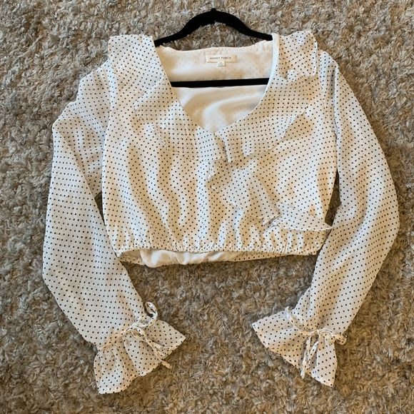 Honey Punch Tops - White & black polka dot blouse